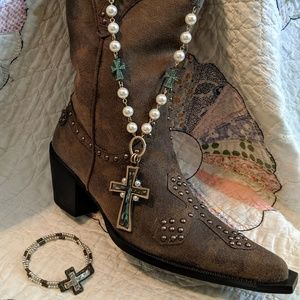 Jewelry - Patina Turquoise Cross W/Suede & Pearls